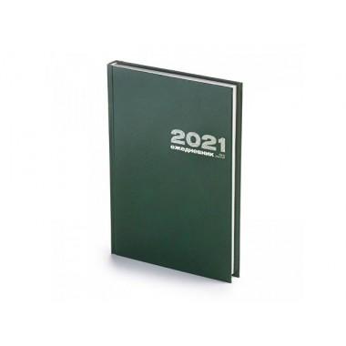 ЕЖЕДНЕВНИК 2021 А5 БУМВИНИЛЗЕЛЕНЫЙ