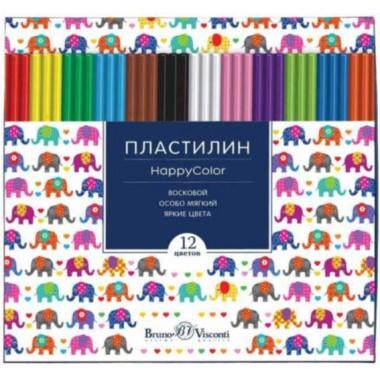 "ПЛАСТИЛИН ВОСКОВОЙ ""BRUNO VISCONTI ""HAPPYCOLOR"" 12 ЦВ. 250ГР АСС-Т"